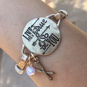 """Live True & Be You"" gold bangle"